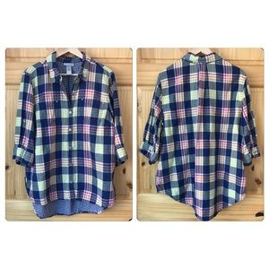 Catherines lined plaid plus Sz blouse 0X / 14